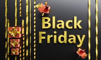 golden BLACK FRIDAY sign with bows and gifts photo