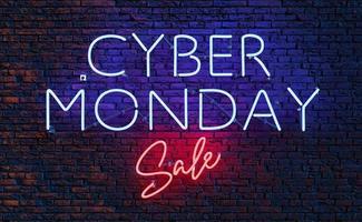 letrero de neón de venta cyber monday foto