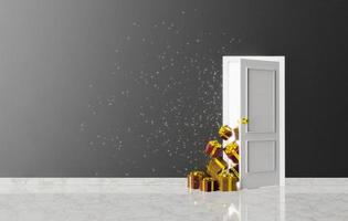 door with presents peeking and glowing light with sparks photo