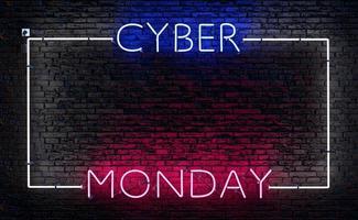 letrero de neón del lunes cibernético con un marco foto