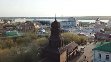 Aerial view of Old wooden building of Tomsk city video