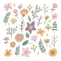 Floral Frame Collection. Set of cute retro flowers vector