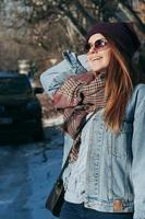 Street style portrait pretty girl in casual clothes photo