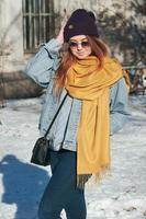 Street style portrait pretty woman in casual clothes photo