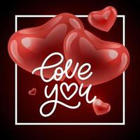 Valentine card Love you with calligraphic lettering vector