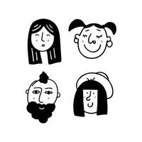Set of human faces expressing positive emotions. Human faces vector