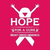 esperanza de una cura concientización sobre el cáncer de mama camisetas vector