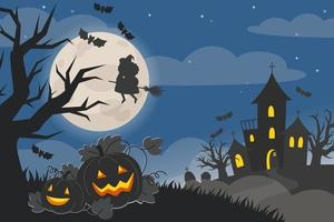 Halloween night landscape with castle, pumpkins and full moon vector