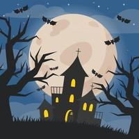 Halloween illustration of night landscape with castle and full moon vector