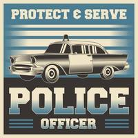 Retro vintage illustration vector graphic of Police Officer Poster
