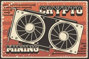 Retro Cryptocurrency Mining Equipment vector