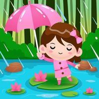 Niña linda en el estanque escondido bajo el paraguas durante la lluvia vector