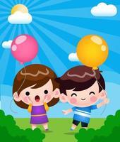 felices lindos niños jugando con globos en el jardín de dibujos animados vector