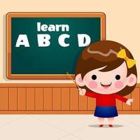 linda niña enseñando el alfabeto de pie frente a la pizarra vector