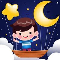 lindo niño montando en bote volador en el vector de la noche