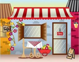 cafe with open signage and outdoor sitting vector art