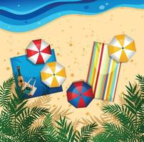 Christmas vacation holiday on beach with guitar, surfer, umbrellas vector