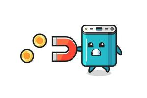 the character of power bank hold a magnet to catch the gold coins vector
