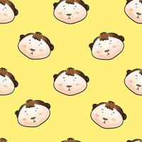 Funny animal monkey cartoon, seamless pattern vector