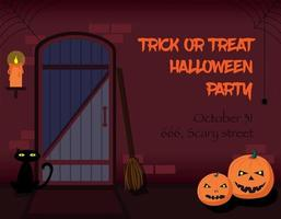 Trick or treat Halloween party invitation. vector