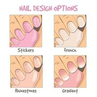 Nail design options. French manicure, decoration vector