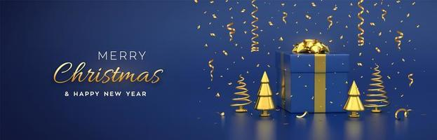 Christmas banner. Composition from gift box with golden bow. vector