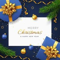 Christmas background with square paper banner. vector