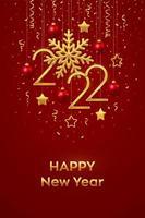 Happy New 2022 Year. Hanging Golden metallic numbers 2022 vector