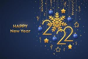 Happy New 2022 Year. Hanging Golden metallic numbers 2022. vector