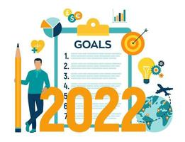 2022 New Year Goals Checklist. Future Goal And Plans. vector