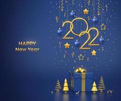 Happy New 2022 Year. Hanging golden metallic numbers 2022 with stars. vector