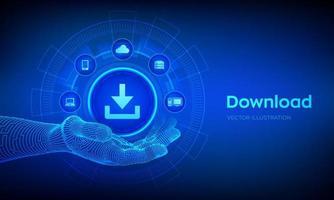 Download icon in robotic hand. Cloud download data storage. vector