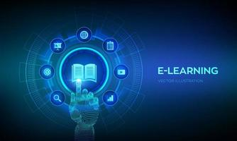 E-learning. Innovative online education and internet technology. vector