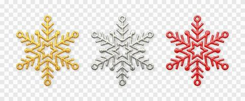 Snowflakes set. Sparkling golden, silver and red sowflakes. vector