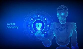 Cyber Security. Data protection business concept on virtual screen. vector
