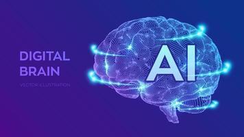 Brain. Digital brain. 3D Science and Technology concept. vector