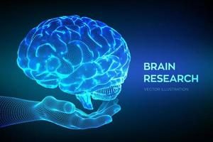 Brain. Human brain research. 3D Science and Technology concept. vector