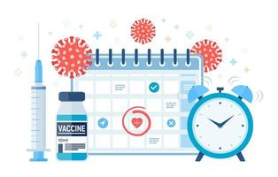 Time to vaccinate concept. Immunization campaign. Vaccine shot. vector