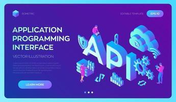 API. Application Programming Interface. Software development tool. vector