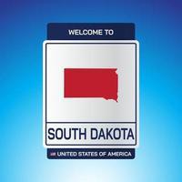 el letrero de estados unidos de américa con mensaje, dakota del sur y mapa vector