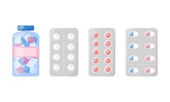 Medicines set. Pharmacy products isolated vector