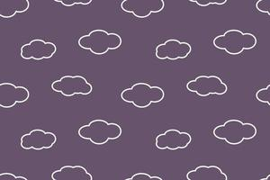 Simple Soft Cloud Outline Seamless Pattern Blue Design vector