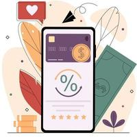 Smartphone with a bank card and coins on the screen. vector
