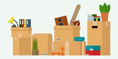 Cardboard boxes with things. vector