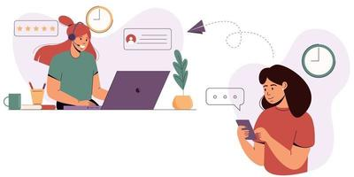 The girl turns to the support service. Customer service concept. vector