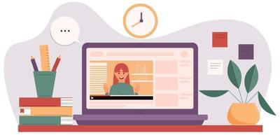 Online courses concept with mentor on laptop screen. vector