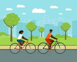 Black people ride city bike. woman and man on bicycles. vector