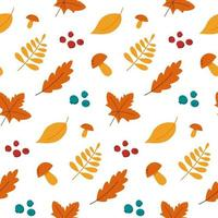 seamless pattern autumn leaves mushrooms and berries vector