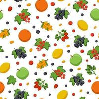 fruits and berries are sources of vitamin c. seamless vector pattern