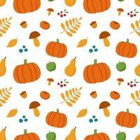 seamless pattern autumn. pumpkin mushrooms foliage vector